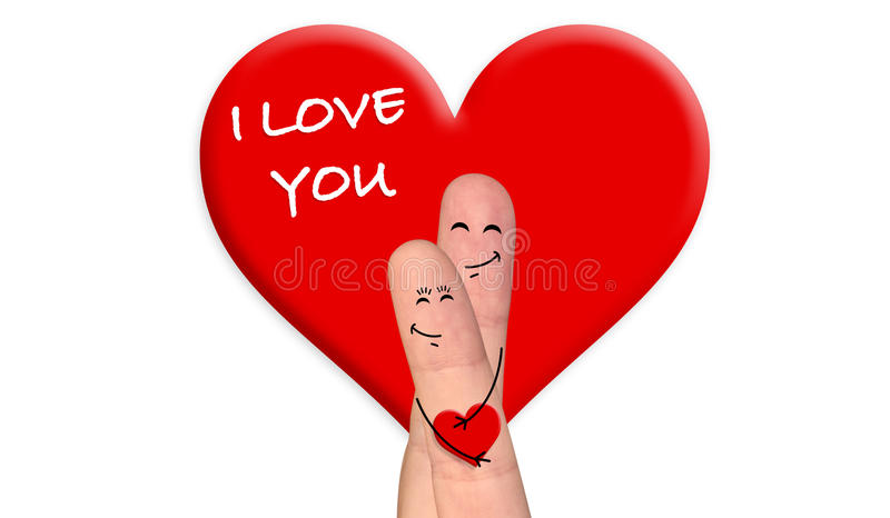 Счастливые пары пальца в влюбленности празднуя день валентинки бесплатная иллюстрация