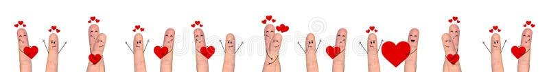 Счастливые пары пальца в влюбленности празднуя день валентинки иллюстрация штока