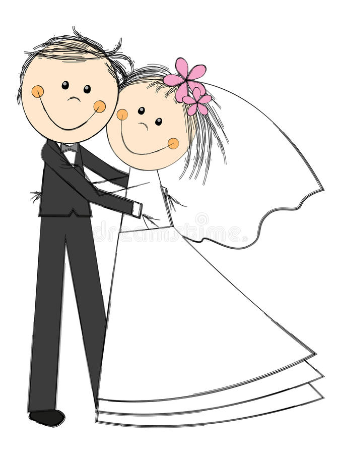 Счастливые пары свадьбы бесплатная иллюстрация