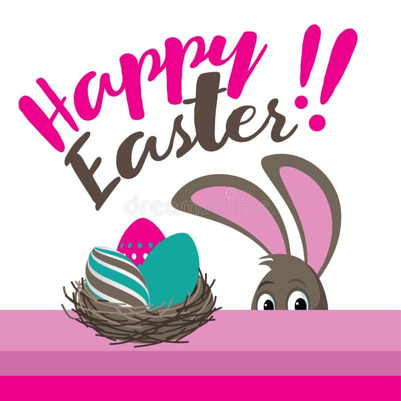 Счастливые пасхальные яйца и peeking дизайн зайчика плоский иллюстрация вектора