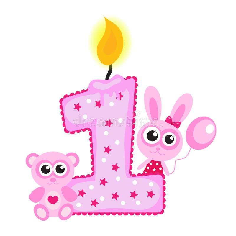 Счастливые первые свеча и животные дня рождения на белизне Розовая карточка, иллюстрация вектора
