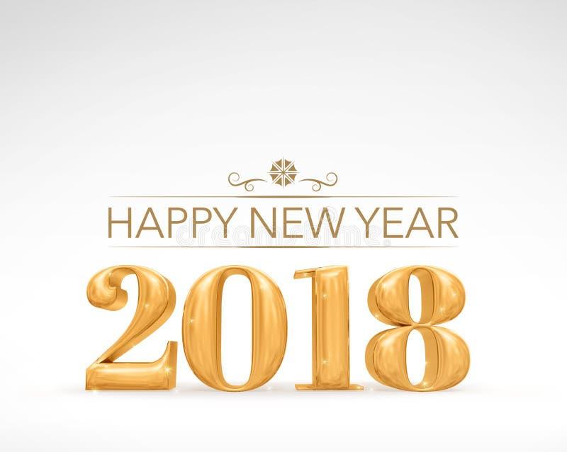Счастливые перевод золотого числа 3d Нового Года 2018 лоснистый на белом s иллюстрация вектора