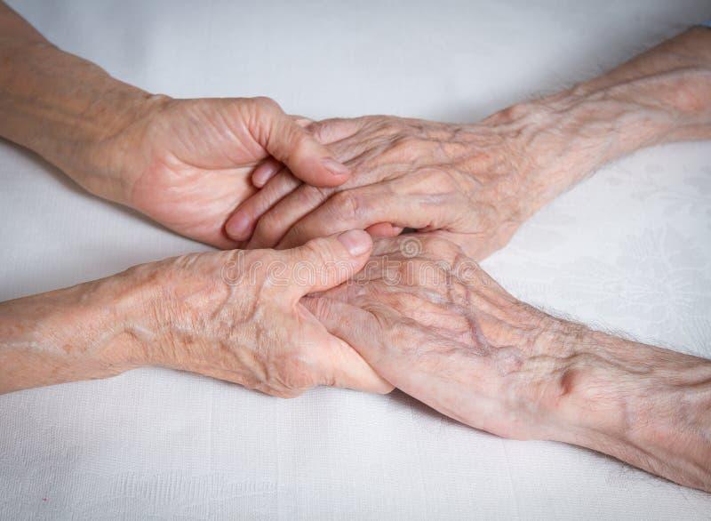 Счастливые пожилые пары. Старые люди держа руки. стоковое фото rf