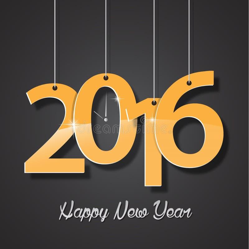 Счастливые поздравительная открытка Нового Года золотые 2016 творческая иллюстрация вектора