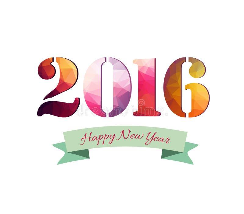 Счастливые поздравительная открытка Нового Года 2016 красочная сделанная в полигональном стиле origami бесплатная иллюстрация
