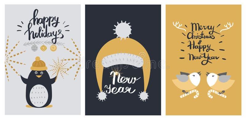 Счастливые праздники и плакат Нового Года красочный бесплатная иллюстрация