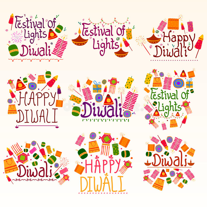 Счастливые праздник Diwali и желать и приветствия фестиваля иллюстрация вектора
