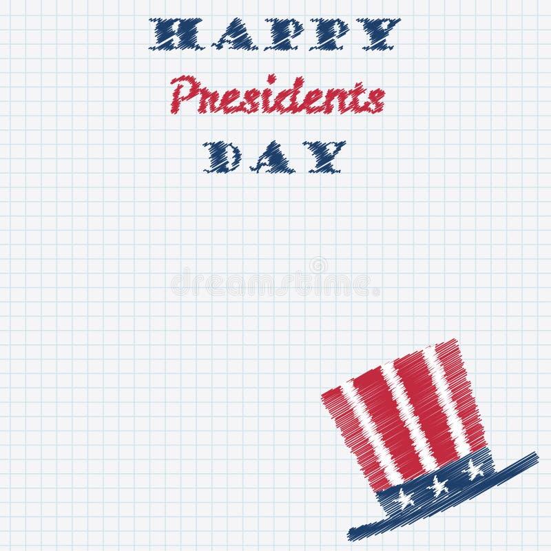 Счастливые президенты День Оформление с высокорослой эскизом doodle шляпы нарисованным рукой на листе бумаги клетки также вектор  иллюстрация вектора