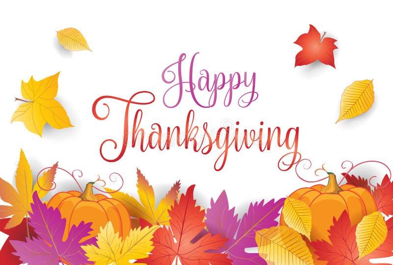 Счастливые рамка и тыква листьев осени благодарения бесплатная иллюстрация