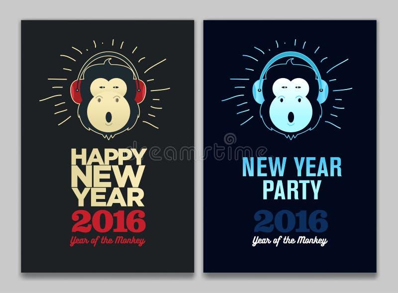Счастливые рогулька 2016, знамя или памфлет Нового Года Смешная обезьяна с наушниками Шаблон торжества партии Eve иллюстрация штока