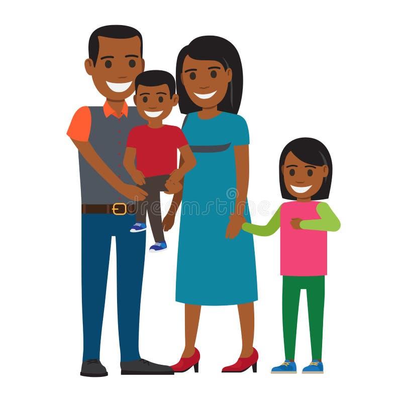 Счастливые родители с вектором маленьких детей плоским иллюстрация штока
