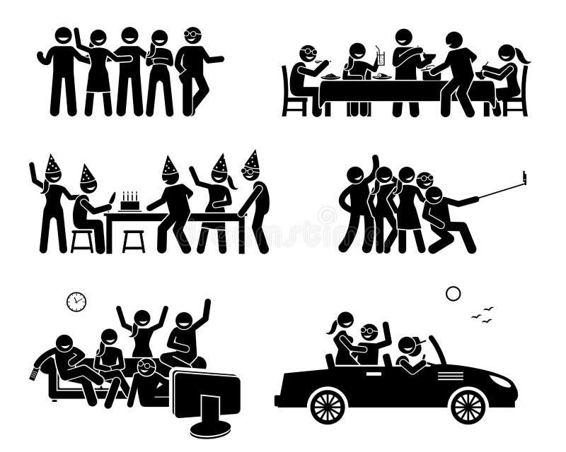 Счастливые друзья вися вне совместно иллюстрация штока