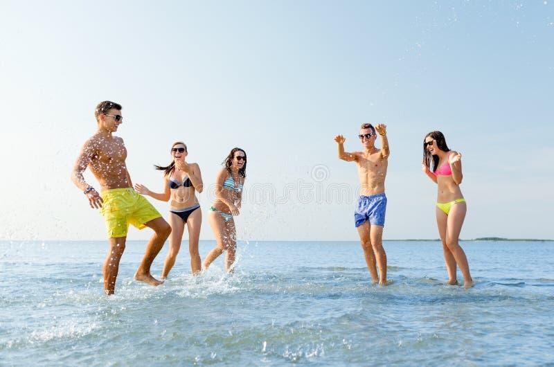 Счастливые друзья имея потеху на пляже лета стоковое изображение