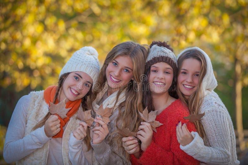 Счастливые друзья и улыбки в осени стоковая фотография rf