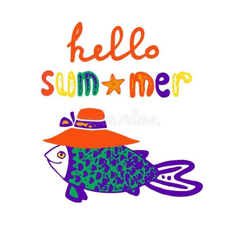 Счастливые рыбы в шляпе и рукописной надписи, нарисованной руке логотипа лета иллюстрация штока