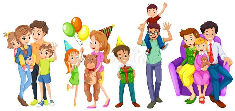 Счастливые семьи иллюстрация штока
