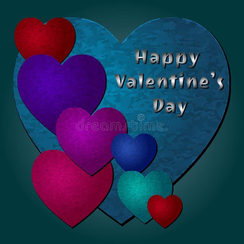 Счастливые сердца вектора дня валентинки стоковые изображения rf