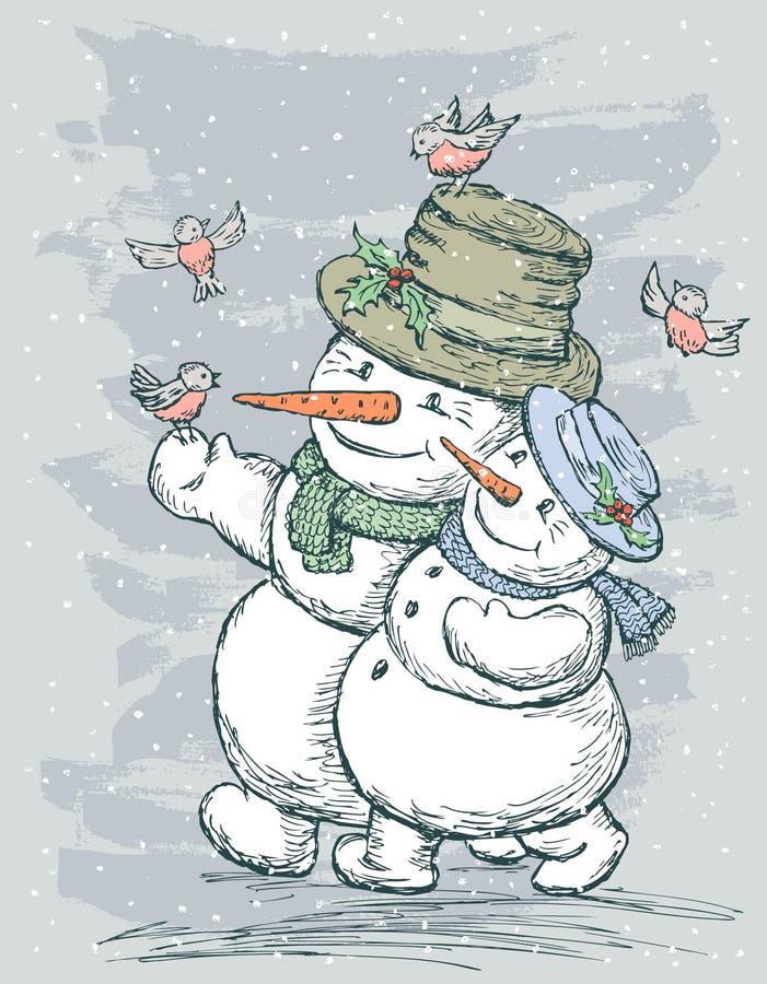 счастливые снеговики бесплатная иллюстрация
