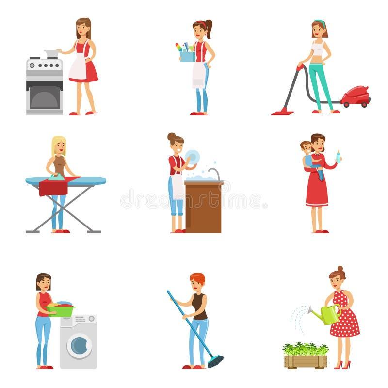 Счастливые современные очищать и домоустройство домохозяек, выполняя различные обязанности домочадца иллюстрация штока