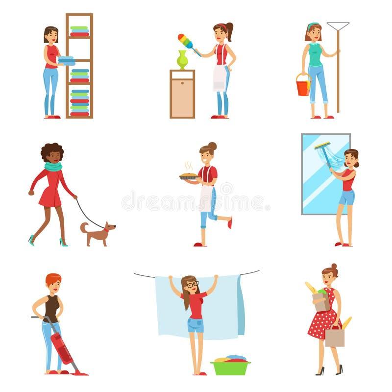 Счастливые современные ходить по магазинам и домоустройство домохозяек, выполняя различные обязанности домочадца с улыбкой иллюстрация вектора