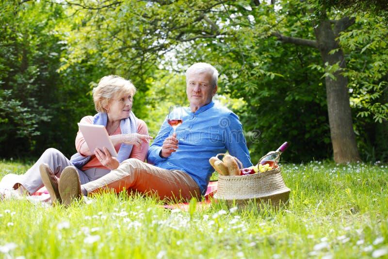 Счастливые старшие пары напольные стоковое изображение rf