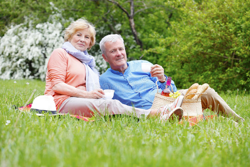 Счастливые старшие пары напольные стоковое фото