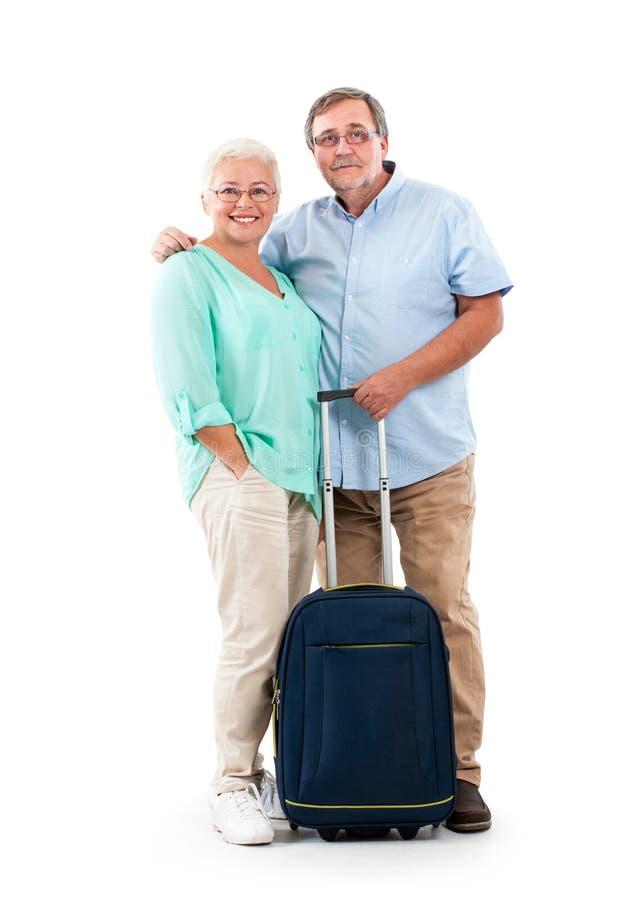 Счастливые старшие туристы пар стоковое изображение