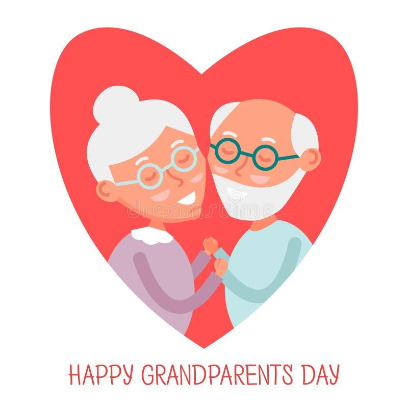 Счастливые старые пары совместно Милые пары старшиев в влюбленности деды держа руки Счастливый день дедов также вектор иллюстраци иллюстрация штока
