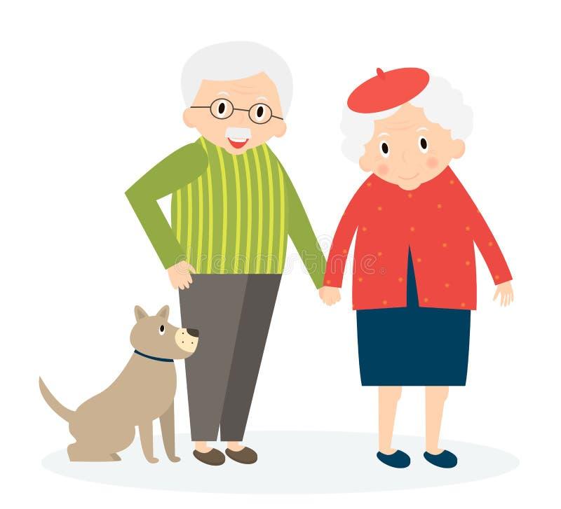 Счастливые старые пары совместно бесплатная иллюстрация