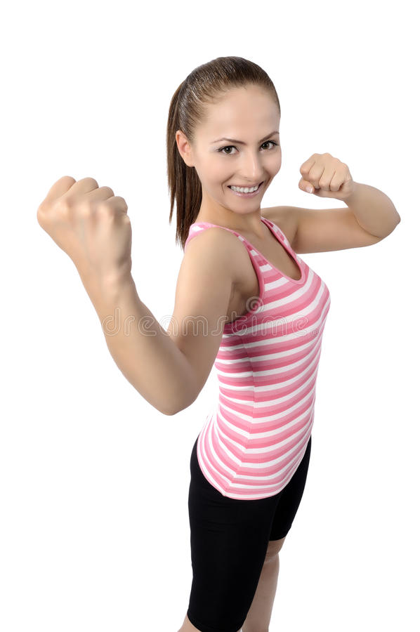 Счастливые танцы женщины танц-класса фитнеса стоковое фото rf