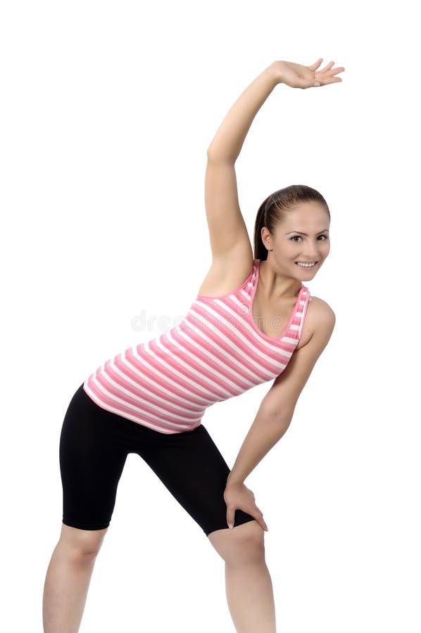 Счастливые танцы женщины танц-класса фитнеса стоковые фотографии rf