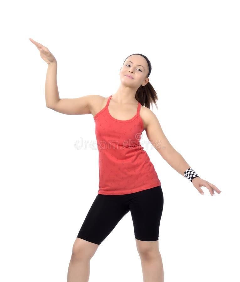 Счастливые танцы женщины танц-класса фитнеса стоковое изображение rf