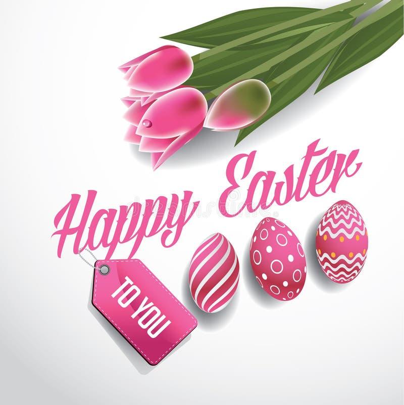Счастливые тюльпаны и яичка пасхи конструируют вектор EPS 10 бесплатная иллюстрация