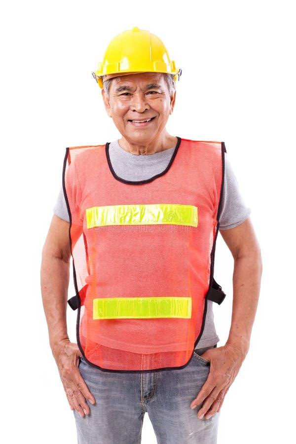 Счастливые, усмехаясь старшие рабочий-строитель или инженер стоковая фотография rf