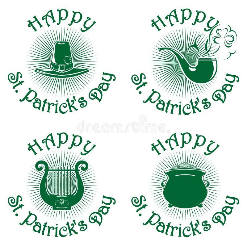 Счастливые установленные значки зеленого цвета дня St Patricks иллюстрация штока
