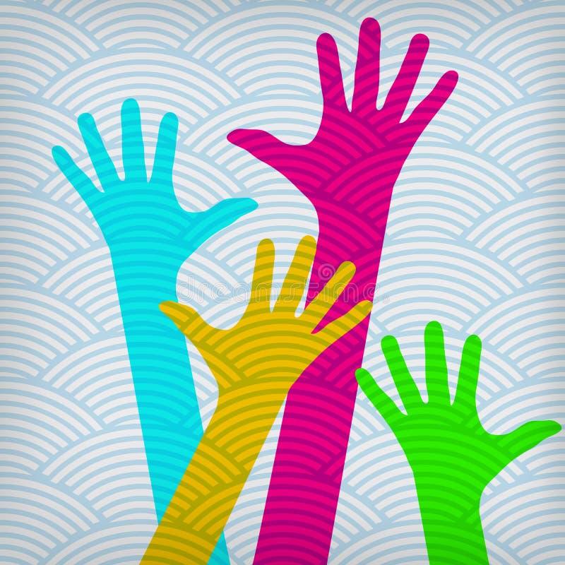 Счастливые цветастые руки иллюстрация штока