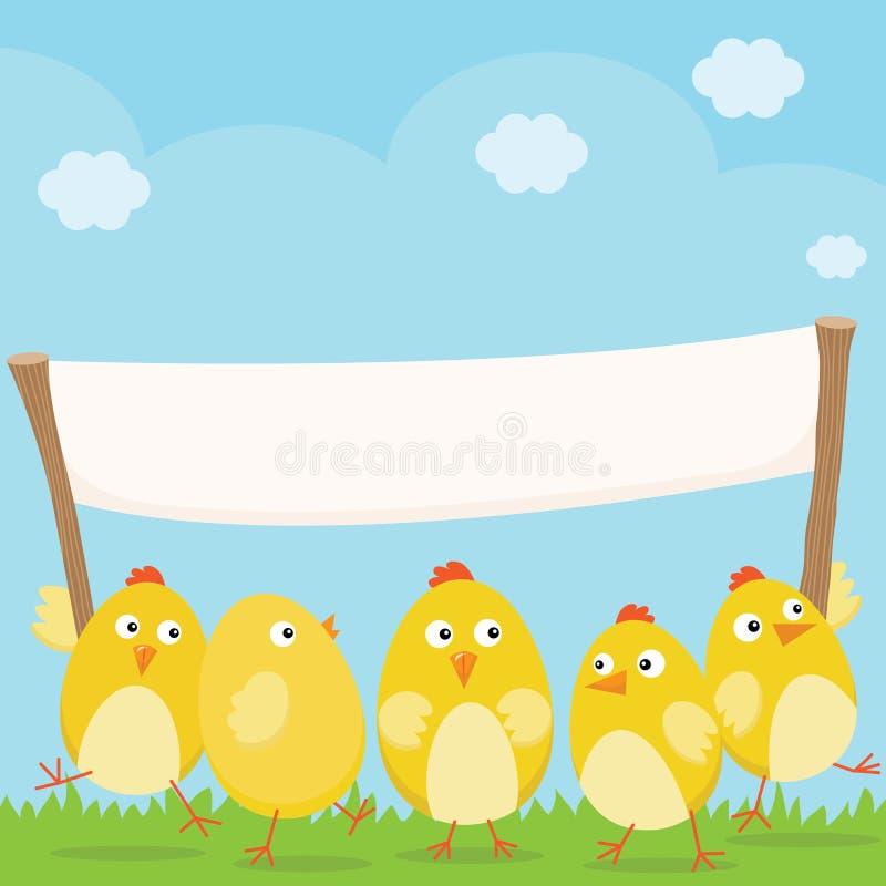 Счастливые цыпленоки пасхи с большим пустым знаменем иллюстрация штока