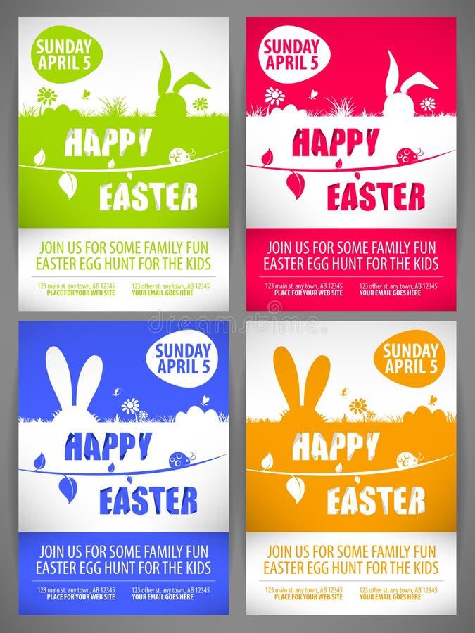 Счастливые шаблоны рогульки пасхи установили с крупно-ушастыми силуэтами кроликов на луге иллюстрация штока