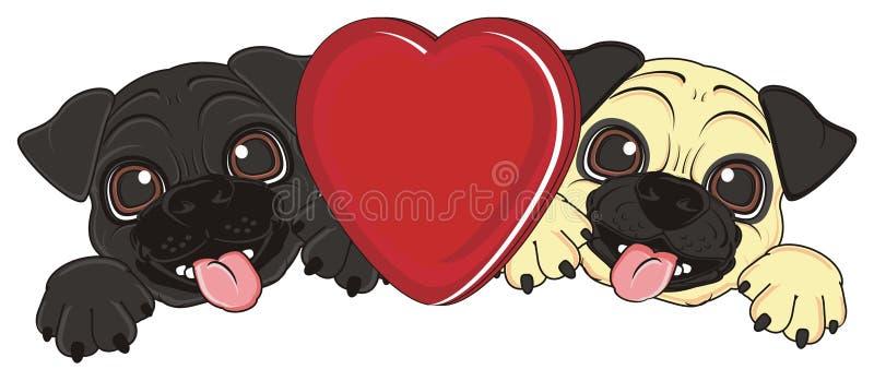 Счастливые щенята с красным сердцем иллюстрация штока