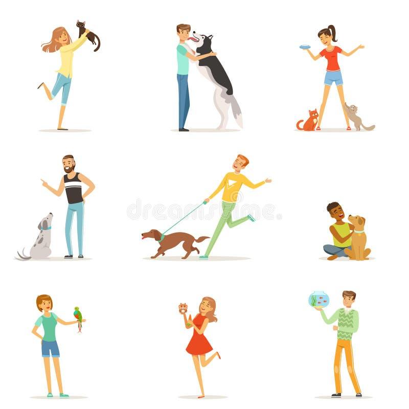 Счастливые люди имея потеху при любимчики, человек и женщины тренируя и играя с их любимчиками иллюстрация вектора