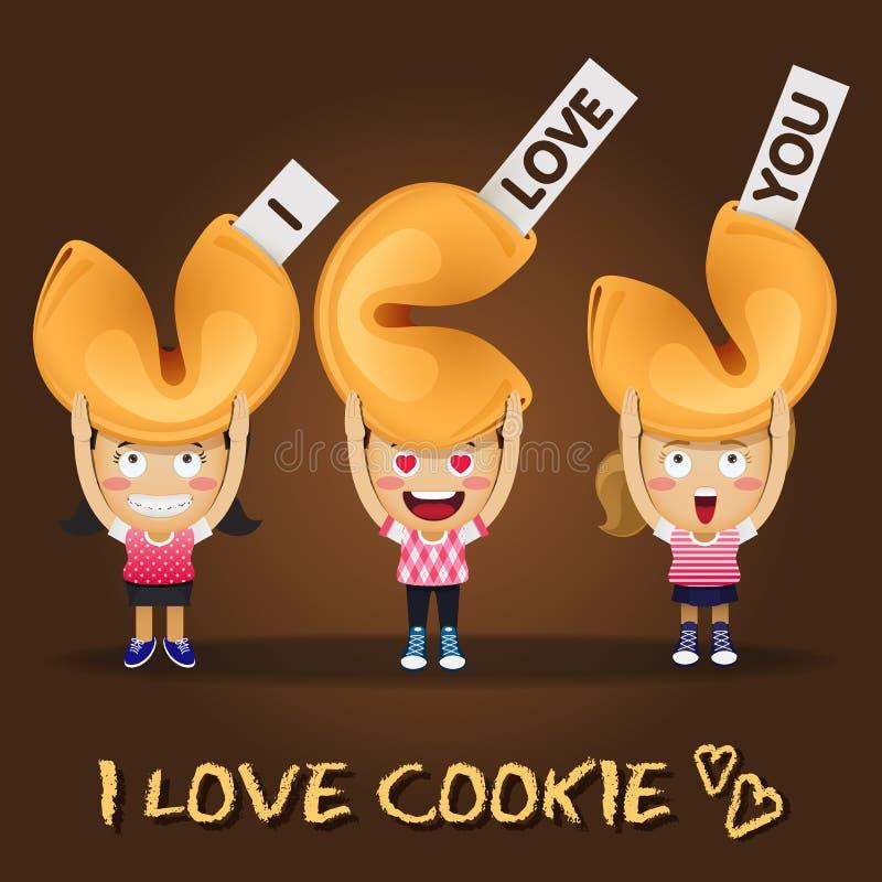 Счастливые люди нося большие печенья с предсказанием иллюстрация вектора