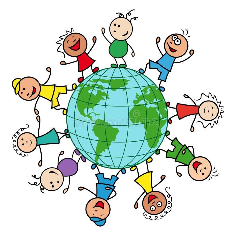 Счастливые люди по всему миру иллюстрация вектора