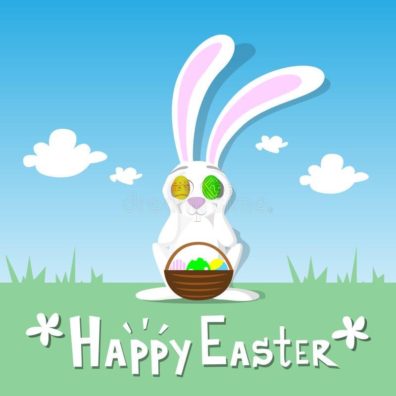 Счастливые яичка владением зайчика карточки пасхи близко наблюдают небо кролика зеленой травы ландшафта весны корзины голубое иллюстрация вектора