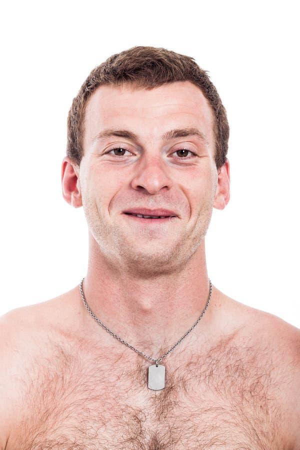 Счастливый без рубашки человек стоковое фото rf