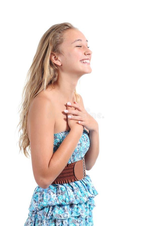 Счастливый белокурый смеяться над девушки подростка стоковая фотография