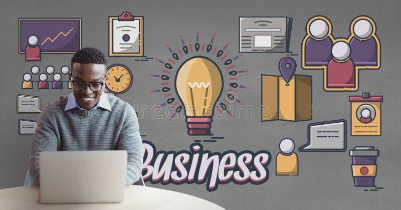 Счастливый бизнесмен на столе используя компьютер против серой предпосылки с графиками иллюстрация штока