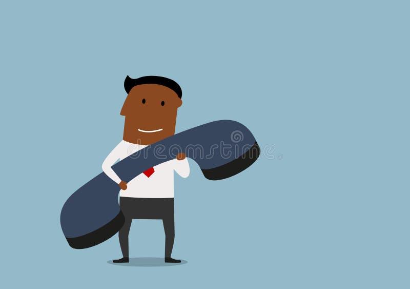 Счастливый бизнесмен с огромным телефоном бесплатная иллюстрация