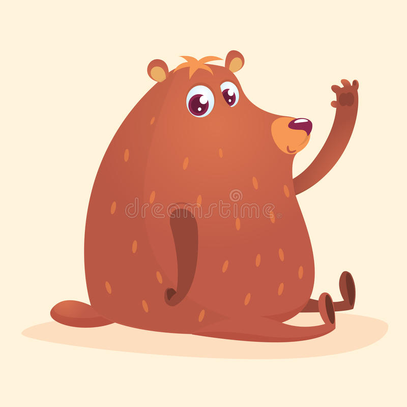 Счастливый бурый медведь шаржа Одичалое собрание животного леса образование младенца изолировано Белая предпосылка Illustrati век иллюстрация вектора