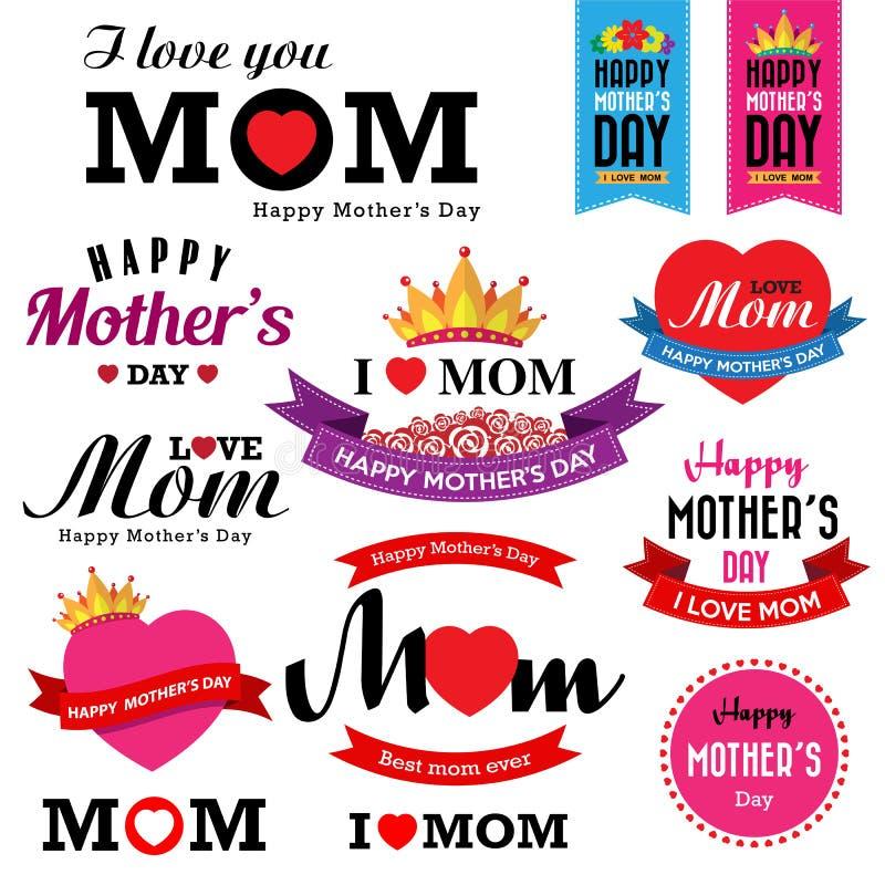 Счастливый вид шрифта года сбора винограда Дня матери иллюстрация штока
