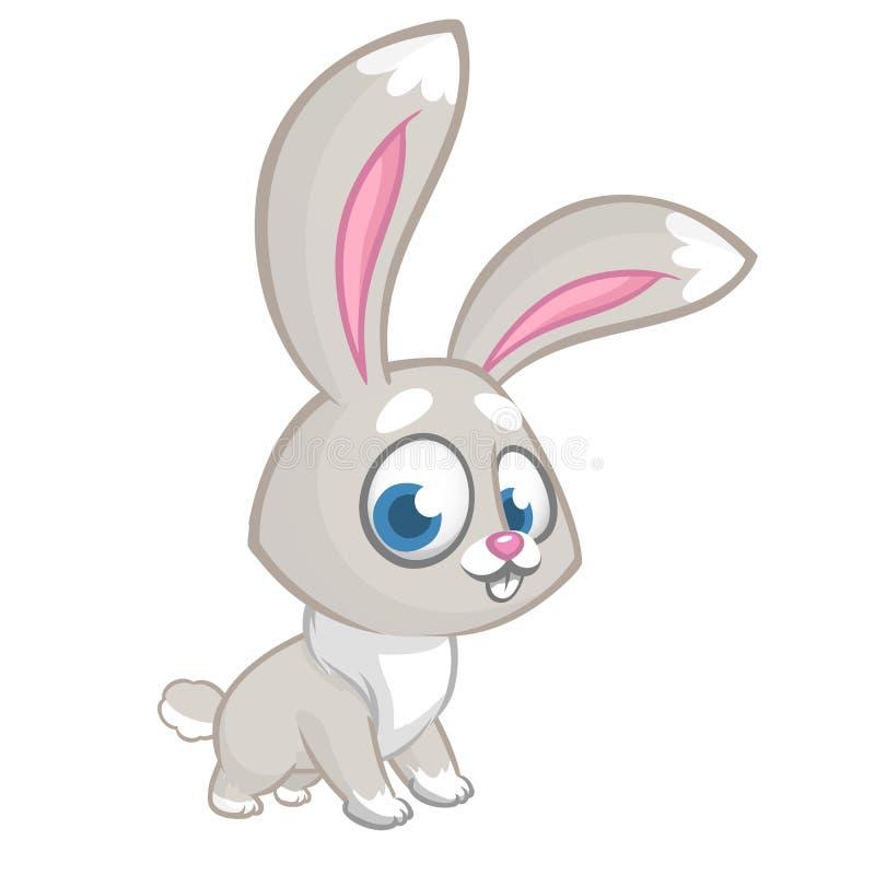 Счастливый голубой шарж кролика изолированный на белой предпосылке Иллюстрация вектора милого зайчика иллюстрация штока